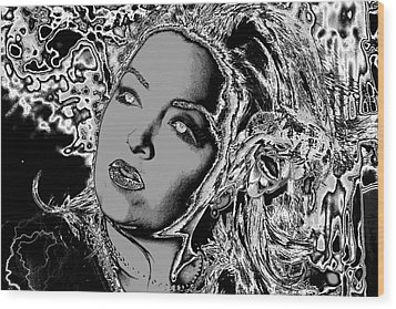 Wood Print featuring the digital art Lady Of The Night by Holly Ethan