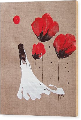 Lady Of The Poppies -contemporary Abstract Woman Red Flowers Fantasy Wood Print by Catherine Jeltes