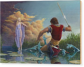 Lady Of The Waters Wood Print by Richard Hescox