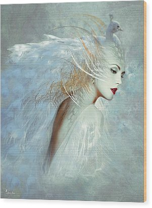 Lady Of The White Feathers Wood Print