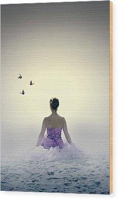 Lady On The Beach Wood Print by Joana Kruse