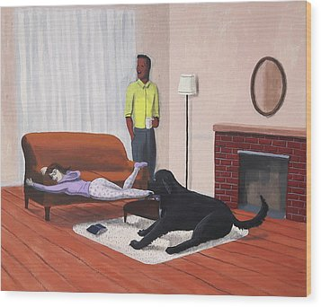 Lady Pulling Mommy Off The Couch Wood Print