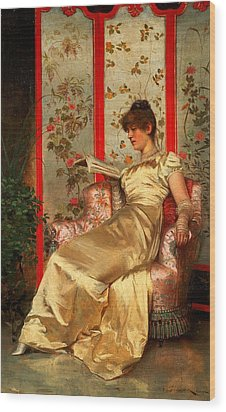 Lady Reading Wood Print by Joseph Frederick Charles Soulacroix