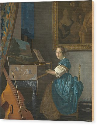 Lady Seated At A Virginal Wood Print