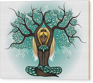 Lady Shaman Tree Wood Print