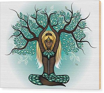 Lady Shaman Tree Wood Print