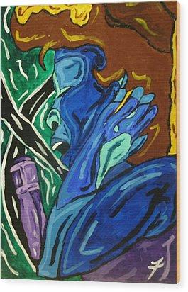 Lady Sing The Blues Wood Print by Jason JaFleu Fleurant