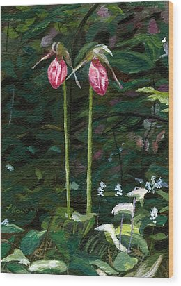 Wood Print featuring the painting Lady Slipper by Lynne Reichhart