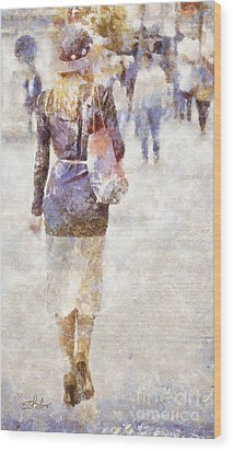 Lady Walking Wood Print by Shirley Stalter