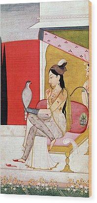 Lady With A Hawk Wood Print by Guler School