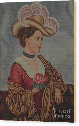 Lady With A Pink Rose Wood Print by Margit Armbrust