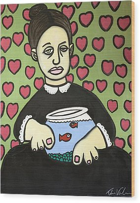 Lady With Fish Bowl Wood Print