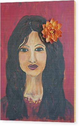Wood Print featuring the painting Lady With Flower by Sladjana Lazarevic