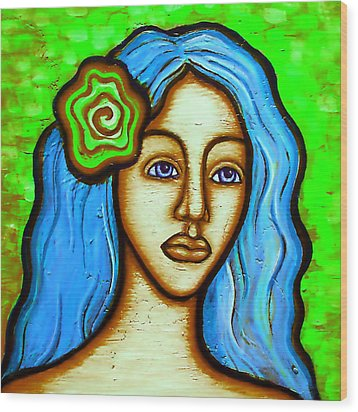 Lady With Green Flower Wood Print by Brenda Higginson