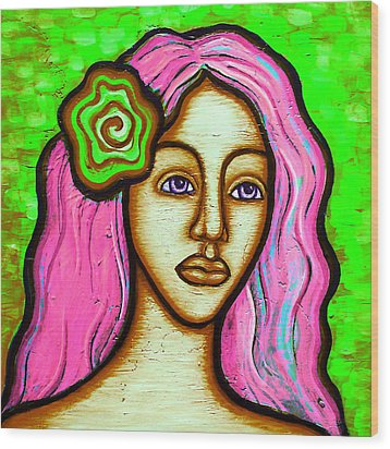 Lady With Green Flower-pink Wood Print by Brenda Higginson