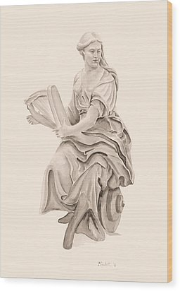 Lady With Harp Wood Print