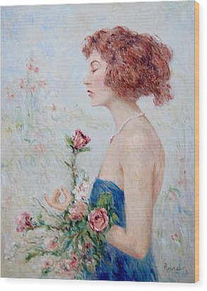 Lady With Roses  Wood Print