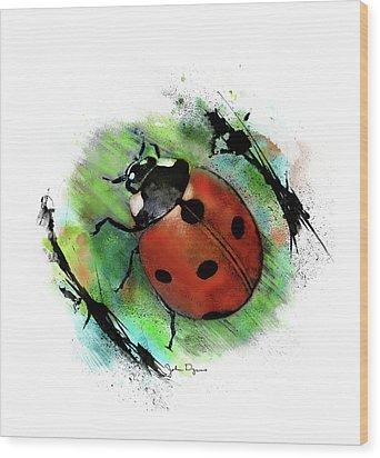 Ladybug Drawing Wood Print