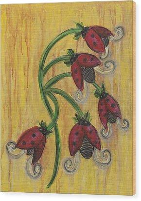 Ladybug Flowers Wood Print by Kristen Fagan