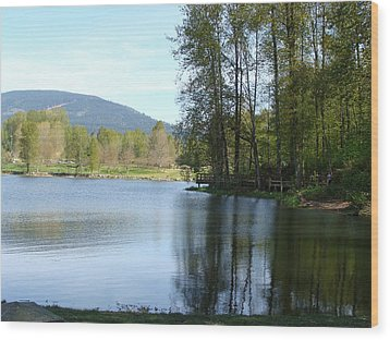 Wood Print featuring the painting Lafarge Lake Serenity by Rod Jellison