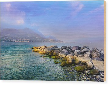 Wood Print featuring the photograph Lago Di Garda. Stones by Dmytro Korol