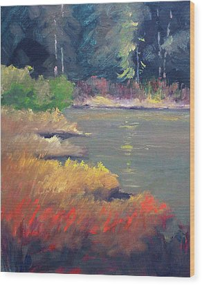 Wood Print featuring the painting Lagoon by Nancy Merkle