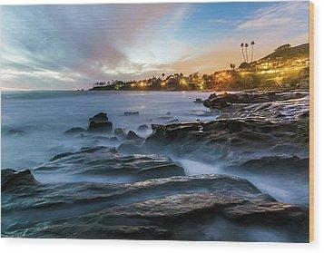 Wood Print featuring the photograph Laguna Beach After Dark by Cliff Wassmann