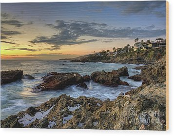 Laguna Beach Coastline Wood Print by Eddie Yerkish