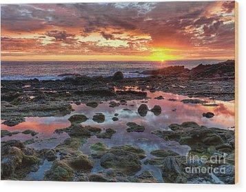 Laguna Beach Tidepools At Sunset Wood Print by Eddie Yerkish