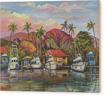 Wood Print featuring the painting Lahaina Harbor Sunset by Darice Machel McGuire