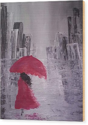 Laidy In The City Abstract Art Wood Print by Sheila Mcdonald