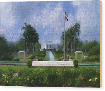 Laie Hawaii Temple Wood Print