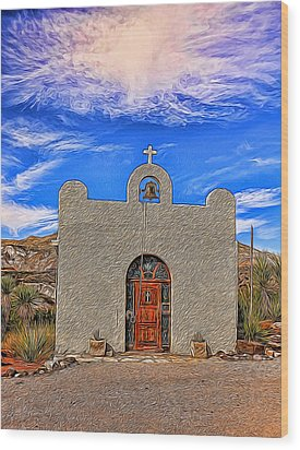 Lajitas Chapel Painted Wood Print by Judy Vincent