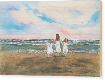 Lake Angels Wood Print by Sandra Strohschein