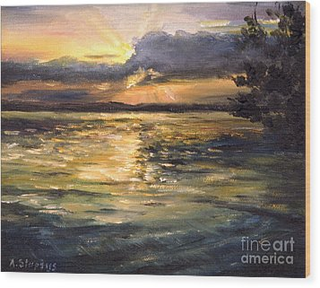 Wood Print featuring the painting Lake by Arturas Slapsys