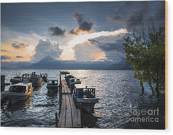 Wood Print featuring the photograph Lake Atitlan At Sunset by Yuri Santin