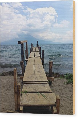 Lake Atitlan Dock Wood Print