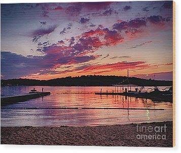 Lake Beach Sunset Wood Print by Mark Miller