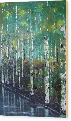 Wood Print featuring the painting Lake Birch by Gary Smith