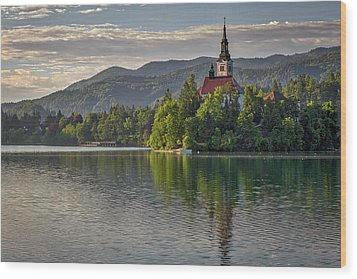 Wood Print featuring the photograph Lake Bled Morning #2 - Slovenia by Stuart Litoff