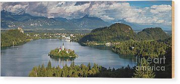 Wood Print featuring the photograph Lake Bled Pano by Brian Jannsen
