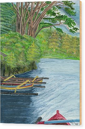 Wood Print featuring the painting Lake Bratan Boats Bali Indonesia by Melly Terpening
