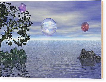 Lake Bubble Planet Wood Print by Kim Prowse