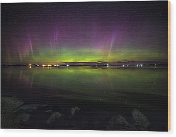 Wood Print featuring the photograph Lake Byron Aurora  by Aaron J Groen