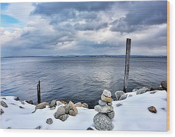 Wood Print featuring the photograph Lake Champlain During Winter by Brendan Reals