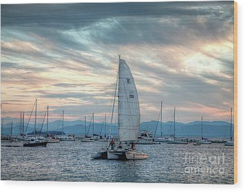 Wood Print featuring the photograph Lake Champlain Sunset Sail by Susan Cole Kelly