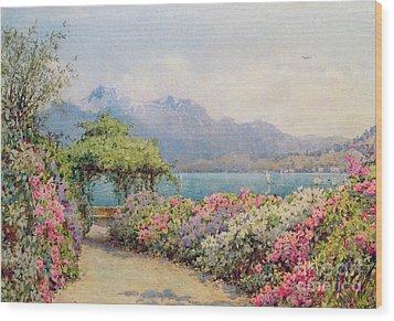 Lake Como From The Villa Carlotta Wood Print by Ernest Arthur Rowe