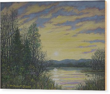 Lake Dawn Wood Print by Kathleen McDermott