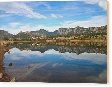 Wood Print featuring the photograph Lake Estes Reflections by Perspective Imagery