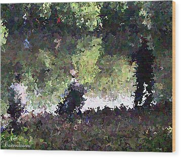 Lake Fishing Impressionist Painting Wood Print by Dawn Hay